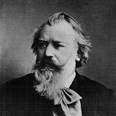 Black and white photograph of Johannes Brahms by W.L. Colls, Ph.Sc.