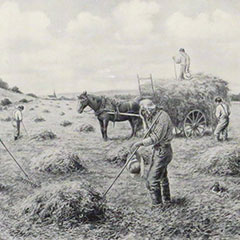 Drawing of the Angelus where farmers suspend their work in the fields to pray to the sound of the parish church bells.
