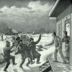 Drawing depicting Mardi Gras, where villagers dressed in rags are knocking on the door of a house.
