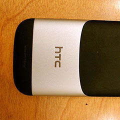 Back of an HTC smartphone (2012).