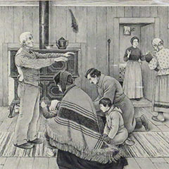 Drawing depicting the Paternal Blessing. The father is standing in front of a couple and young children.