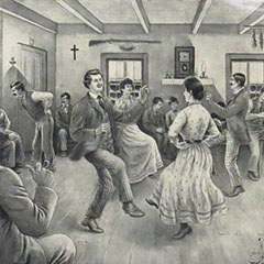 Drawing depicting an old-time evening-gathering. In the centre, people are dancing to the sound of the violin, and people around them are talking.