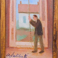 Painting by Alfred Laliberté showing a bell ringer in action.