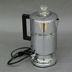 Electric metal coffee maker with glass cover