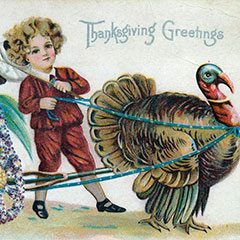 Greeting card on which a child guides a cart containing an ear of corn. The cart is pulled by a turkey.
