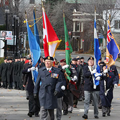 Soldiers and veterans marching in the streets of Trois-Rivières during Remembrance Day in 2008.