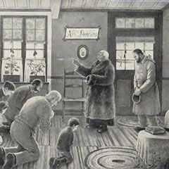 Drawing depicting a priest being welcomed in a house. The inhabitants are kneeling, ready to be blessed.