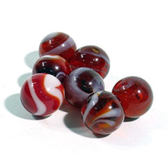 Red and white glass marbles.