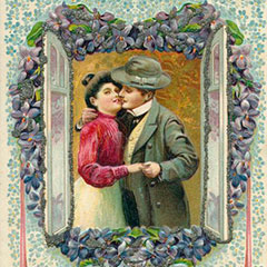 Greeting card showing a man trying to kiss a woman. Around them, an open window is decorated with flowers in the shape of a heart.