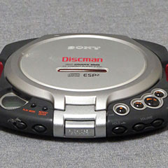 Sony compact disc player made of metal, plastic and rubber.