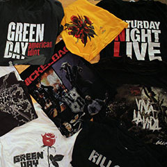 T-Shirts of popular bands (Green Day, The Killers, One Direction, Jonas Brothers, Linkin Park, Nickelback, Coldplay, Saturday Night Live and Yann Perreau)