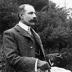 Black and white photograph of Edward Elgar.