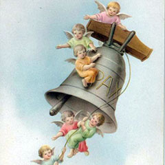 Drawing of the return of the Easter Bells. A large bell is rung by four little angels. Two little angels cling on its side, while another one is perched on top of the bell.