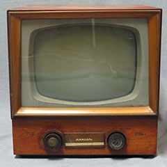 Marconi black and white TV made of wood, glass, plastic and metal, circa 1955.
