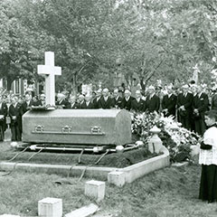 Black and white photograph of Maurice Duplessis funeral in 1959.