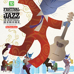 Poster for the 2014 Montréal International Jazz Festival. A cat is holding a ruby and a guitar. Other cats are playing instruments.