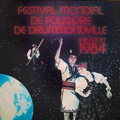 Festival poster. In the background is the planet Earth. In the foreground, a man is playing a music instrument and a couple is dancing.