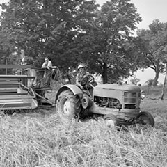 A man is sitting on a tractor in a wheat field. The tractor is hitched to a combine on which a man is leaning.