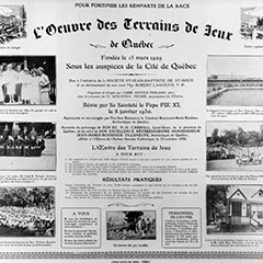 Œuvre des Terrains de Jeux de Québec promotional poster. There are nine images as well as additional information on the organization.